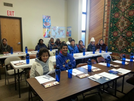 Recently arrived refugees from the Democratic Republic of the Congo and Bhutan taking Refugee Orientation at LSS.