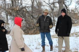L-R: Betty Oldenkamp, Bishop Eaton, Chauncey Jorgensen,  Rev. Stadie listen as Jorgensen describes what he found when he came up on the herd.