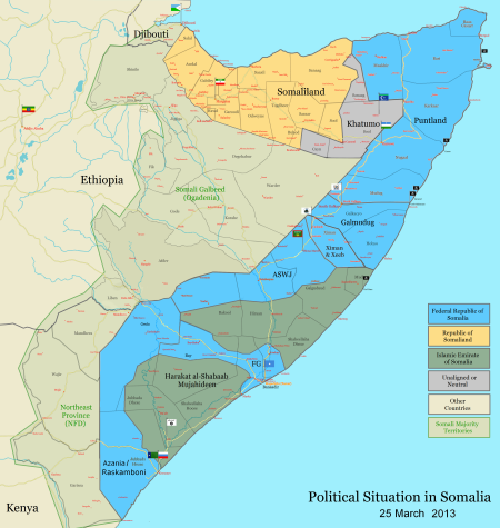 Political Situation in Somalia as of March 25 2013.  Photo courtesy of Wikipedia Commons