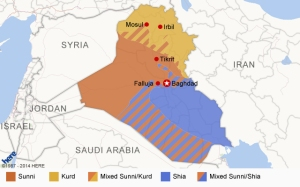 Map shows the three major sects within Iraq.  Photo courtesy of CNN.
