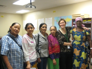 Education Program Coordinator, Laura Smith-Hill, with learners from her English classes