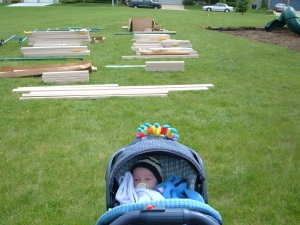 My daughter at the 2005 building of the old playground.