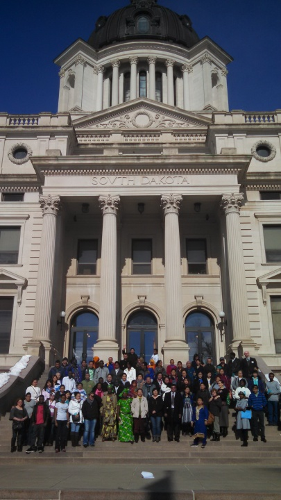 Aberdeen, Huron and Sioux Falls English Learners in front of Capitol Building