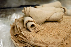 An image of Injera, an East African sourdough-risen flatbread.