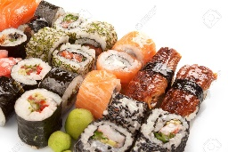 A variety of Sushi rolls, a Japanese delicacy.