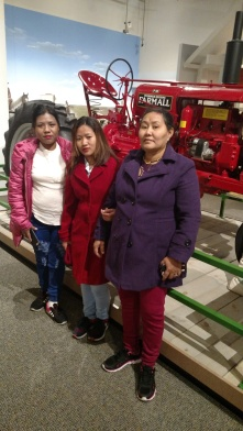 Bhutanese ladies with the tractor