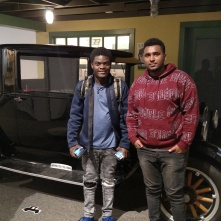young friends with the car