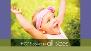 Is Adoption Right for You? Hope Comes in All Sizes. Picture of a happy toddler with outstretched arms.