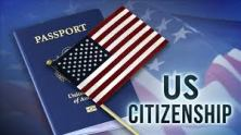 A picture of a passport and flag with words US Citizenship